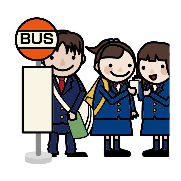 バス停に並ぶ人
